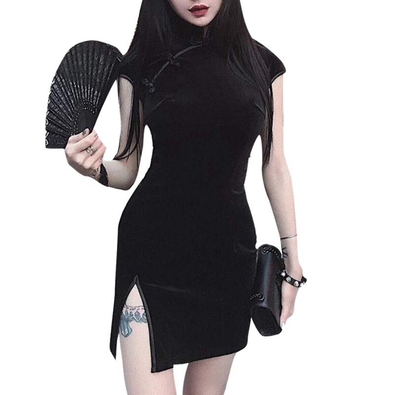 thumbnail 5 - Girly-Retro-Dress-Dark-Sexy-Elegant-VelvetBlack-Dress-Chinese-Cheongsam-ParY7T1