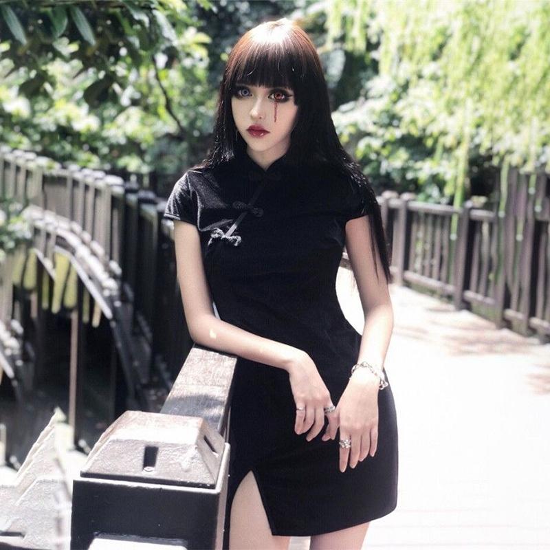 thumbnail 6 - Girly-Retro-Dress-Dark-Sexy-Elegant-VelvetBlack-Dress-Chinese-Cheongsam-ParY7T1