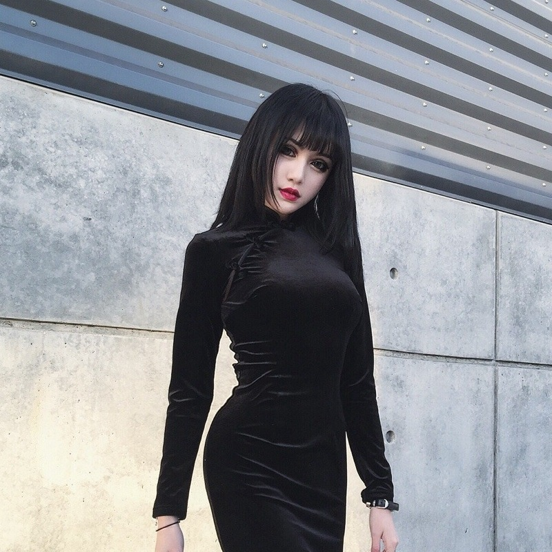 thumbnail 8 - Girly-Retro-Dress-Dark-Sexy-Elegant-VelvetBlack-Dress-Chinese-Cheongsam-ParY7T1