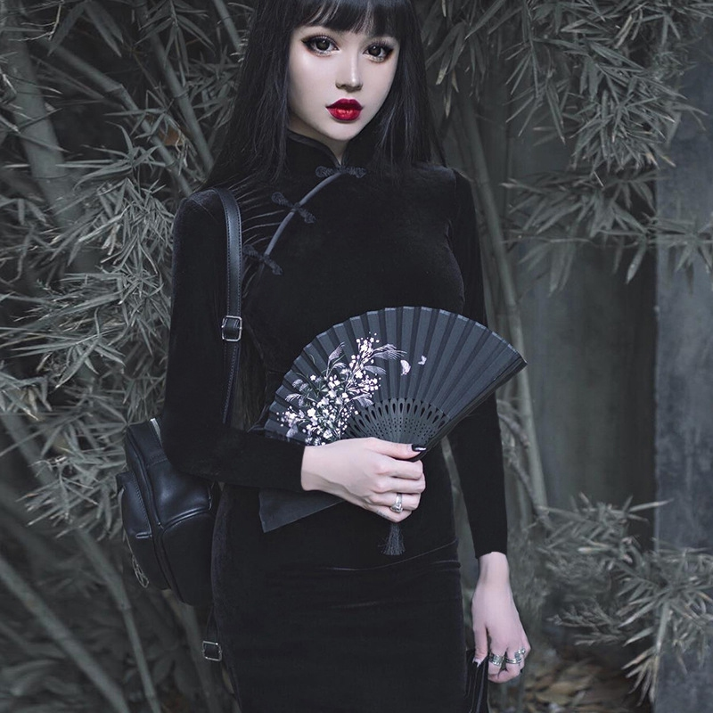 thumbnail 9 - Girly-Retro-Dress-Dark-Sexy-Elegant-VelvetBlack-Dress-Chinese-Cheongsam-ParY7T1