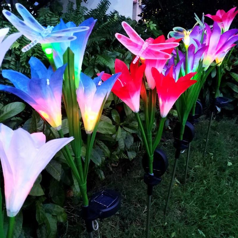 2-Pcs-Led-Solaire-Fleur-de-Lys-en-Plein-Air-Jardin-Jardin-Lampe-3-TeTe-Lily-K3P9 miniature 3