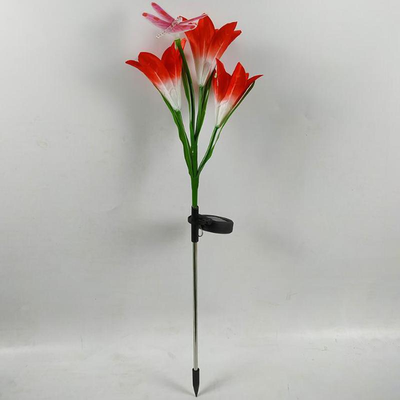 2-Pcs-Led-Solaire-Fleur-de-Lys-en-Plein-Air-Jardin-Jardin-Lampe-3-TeTe-Lily-K3P9 miniature 4