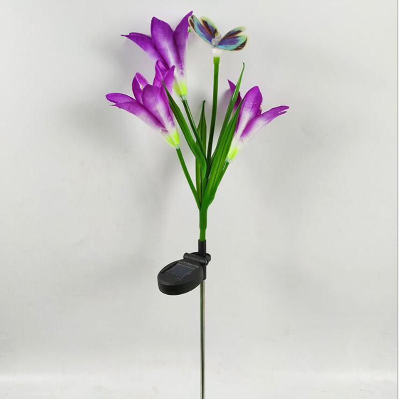 2-Pcs-Led-Solaire-Fleur-de-Lys-en-Plein-Air-Jardin-Jardin-Lampe-3-TeTe-Lily-K3P9 miniature 5