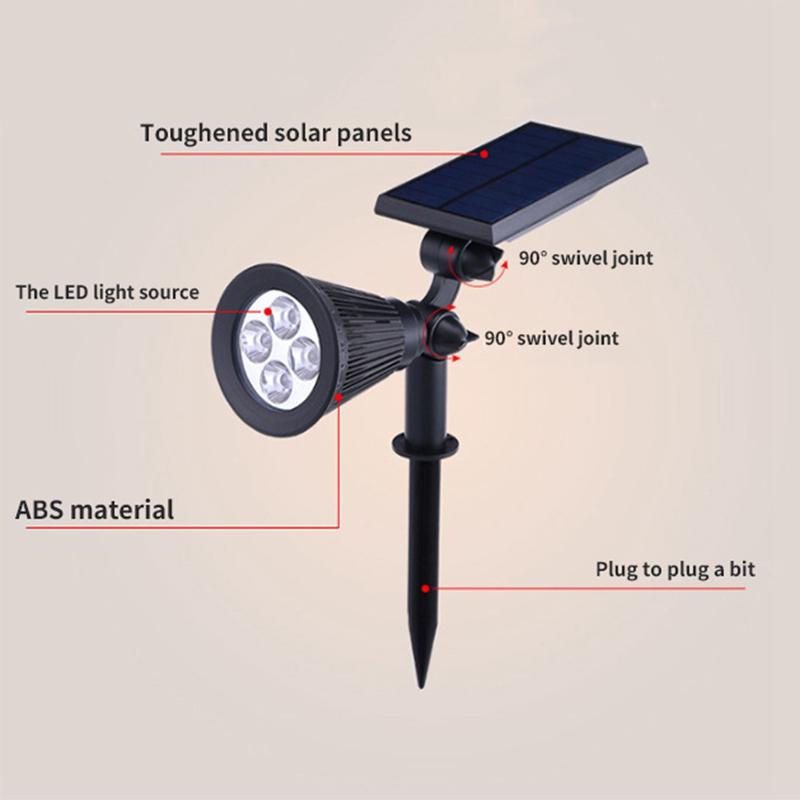 2Pcs-4-LED-Solaire-Paysage-LumieRes-ETanche-EClairage-ExteRieur-ETanche-2-E-J6K8 miniature 8