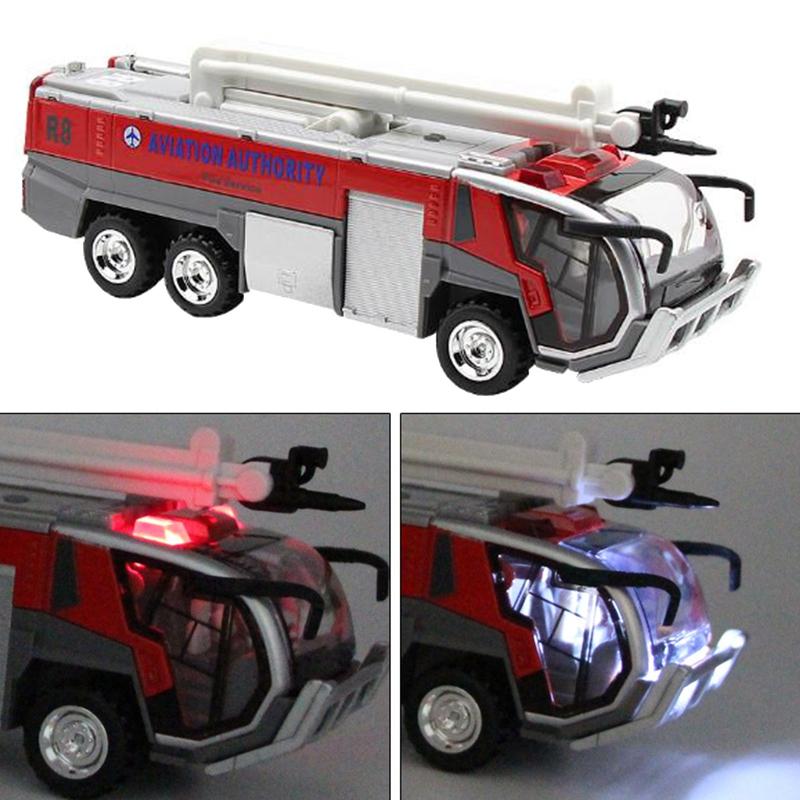 1-32-Airport-Fire-Truck-Fire-Engine-ELectrique-Moule-Sous-Pression-VeHicule-G8I7 miniature 4