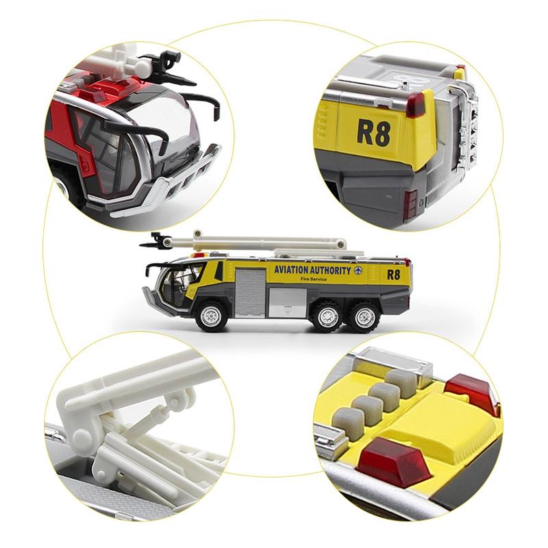 1-32-Airport-Fire-Truck-Fire-Engine-ELectrique-Moule-Sous-Pression-VeHicule-G8I7 miniature 5