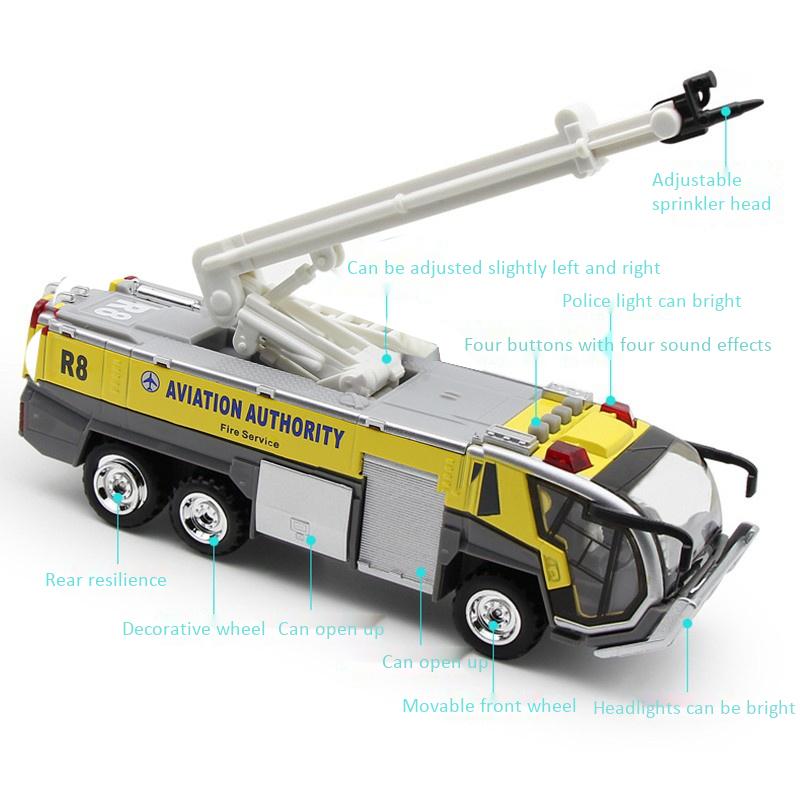 1-32-Airport-Fire-Truck-Fire-Engine-ELectrique-Moule-Sous-Pression-VeHicule-G8I7 miniature 7