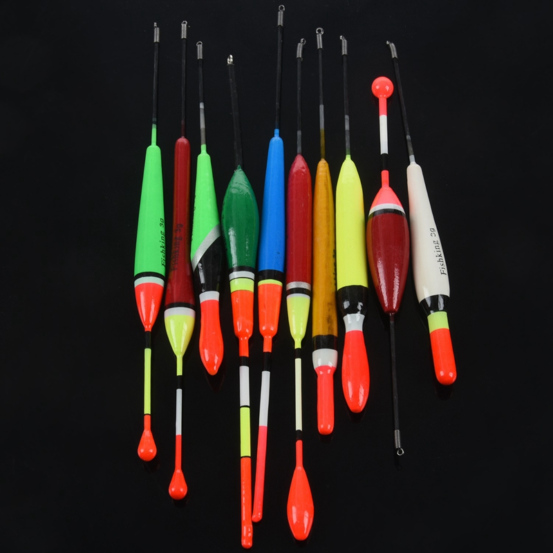 10Pcs-Lot-Fishing-Float-Bobber-Set-Mix-Size-Color-Plastic-Vertical-Buoy-N3S2 thumbnail 5