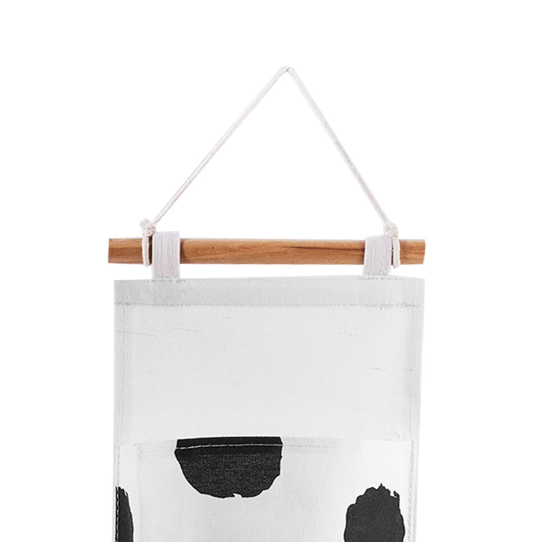 miniatura 16 - Sacchetto di Immagazzinaggio Appeso Modello Bianco Nero Lino di Cotone Dell S7D1