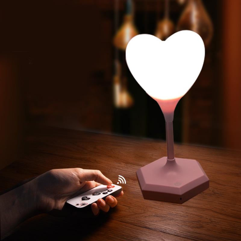 USB-LED-Gradation-Coeur-Silicone-Veilleuse-Enfants-Chambre-Maison-Moderne-E-V2Q7 miniature 3