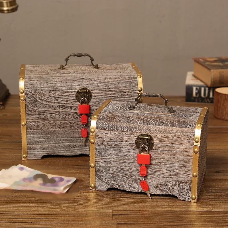 1X-Geldsperre-Holzkiste-Exquisite-Aufbewahrungsbox-Schatz-Schmuck-Vintage-mR4H7 Indexbild 4
