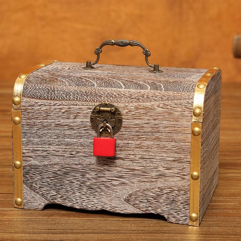 1X-Geldsperre-Holzkiste-Exquisite-Aufbewahrungsbox-Schatz-Schmuck-Vintage-mR4H7 Indexbild 6