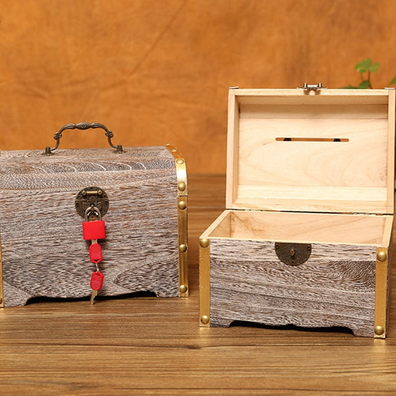 1X-Geldsperre-Holzkiste-Exquisite-Aufbewahrungsbox-Schatz-Schmuck-Vintage-mR4H7 Indexbild 7
