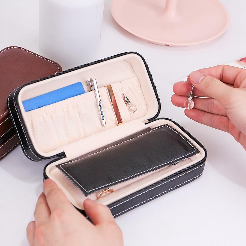 Tragbare-Schmuck-Verpackung-Aufbewahrungsbox-Halskette-Armband-Ohrring-Uhr-T-rvg Indexbild 19