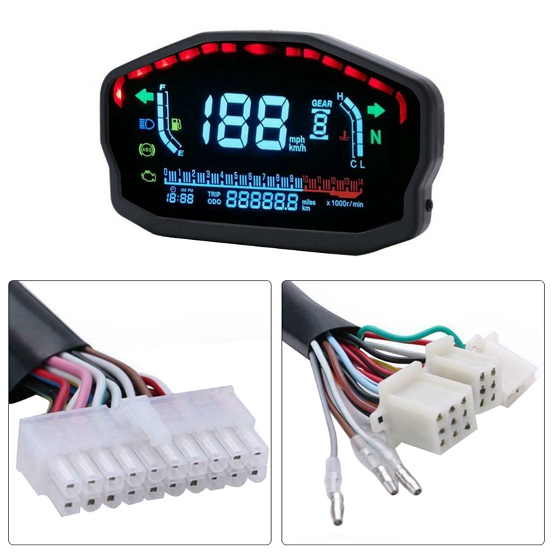 Universal Motorcycle Led Lcd Digital Speedometer Odometer For 2  4 Cylinders H9b1