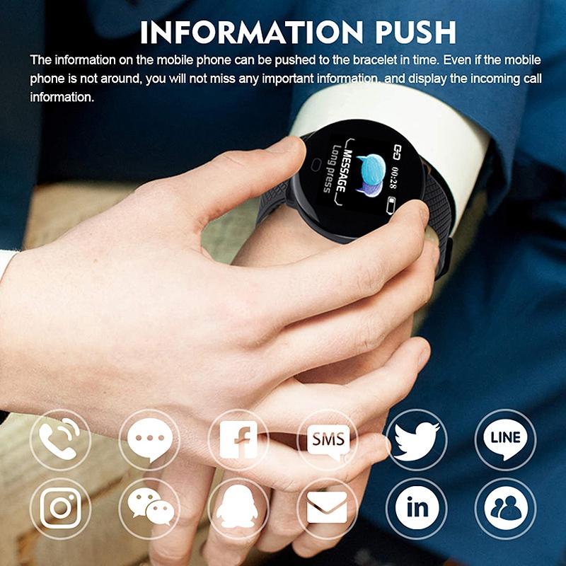 Reloj-Inteligente-D19-Frecuencia-CardiAca-PresioN-Arterial-Salud-Reloj-Smar-I4R1 miniatura 7