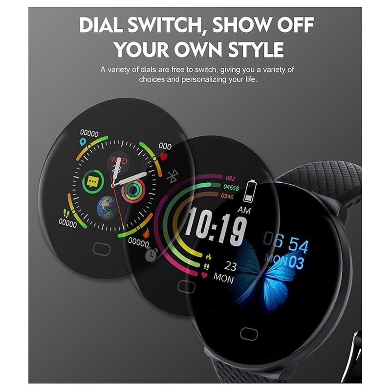 Reloj-Inteligente-D19-Frecuencia-CardiAca-PresioN-Arterial-Salud-Reloj-Smar-I4R1 miniatura 18