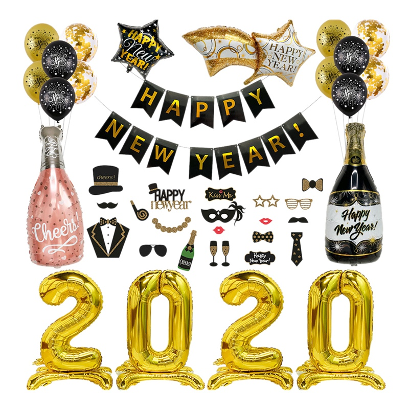 4X(Christmas Supplies Foil Balloon Banner Happy New Years ...