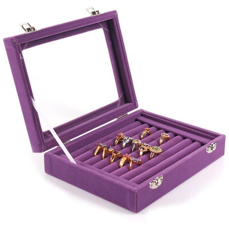 7-Slot-Velvet-Schmuck-Ring-Display-Rack-Ohrring-Aufbewahrungsbox-Schmuck-Sa-Z1O1 Indexbild 13