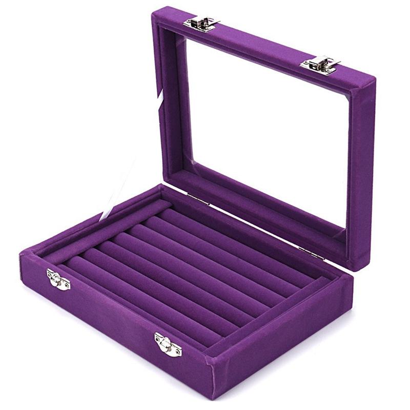 7-Slot-Velvet-Schmuck-Ring-Display-Rack-Ohrring-Aufbewahrungsbox-Schmuck-Sa-Z1O1 Indexbild 15