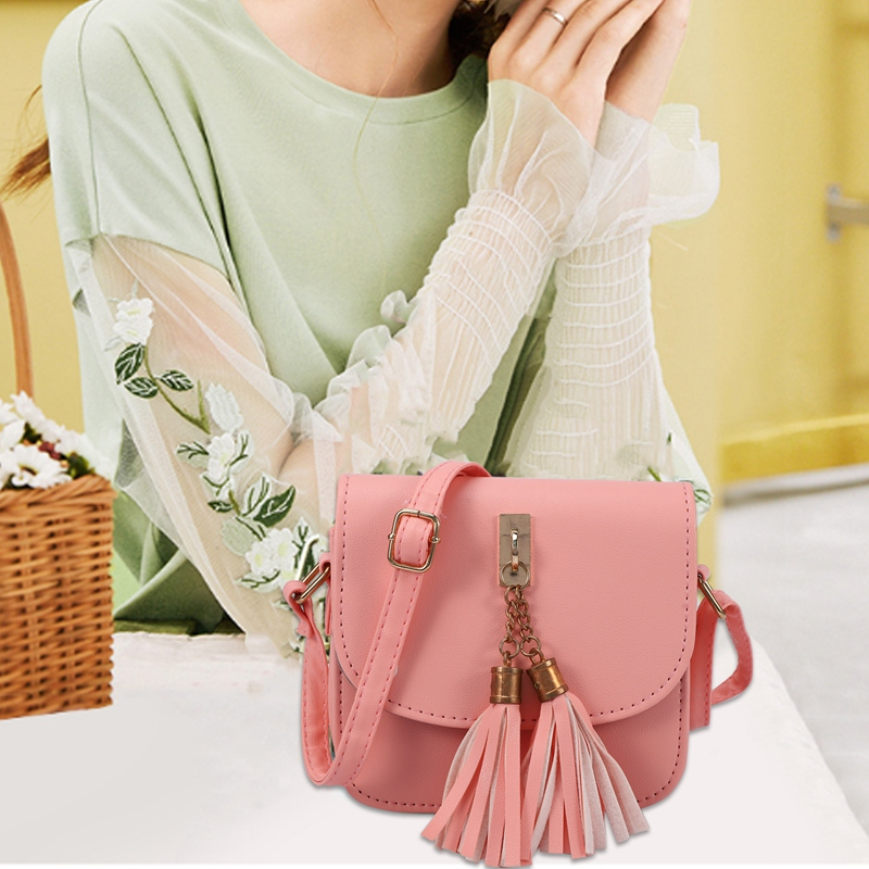 Fashion-Small-Chains-Bag-Women-Candy-Color-Tassel-Messenger-Bags-Female-Han-B2T5 thumbnail 5
