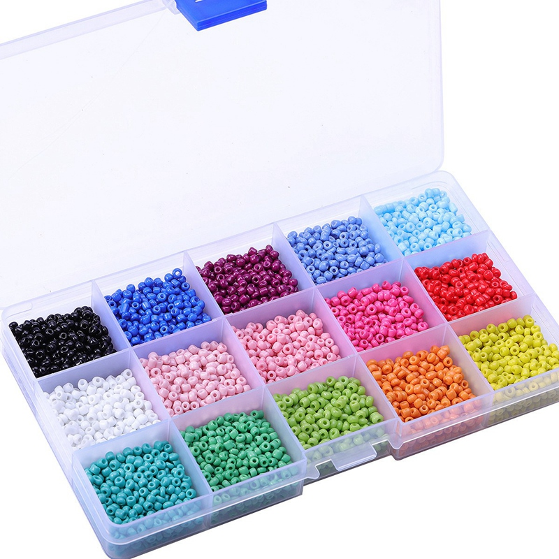 7000Pcs In Box 15 Multicolor Assortment Glass Seed Beads Opaque Colors See J8K2