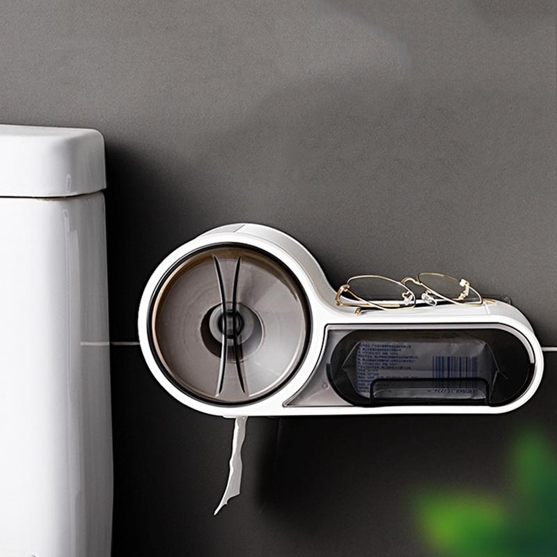 Waterproof Toilet Tissue Holder Box Paper Dispenser Self-Adhesive Wall Moun J7R3