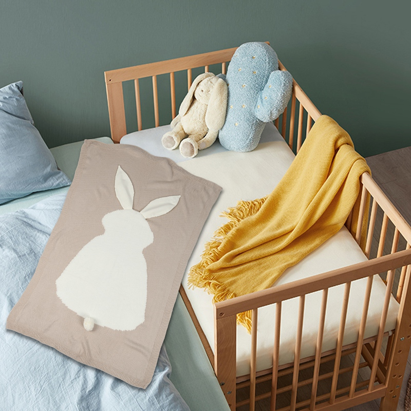 thumbnail 4 - Baby Blankets Newborn Cute Big Rabbit Ear Blanket Soft Warm Knitted Swaddle Z9Z4