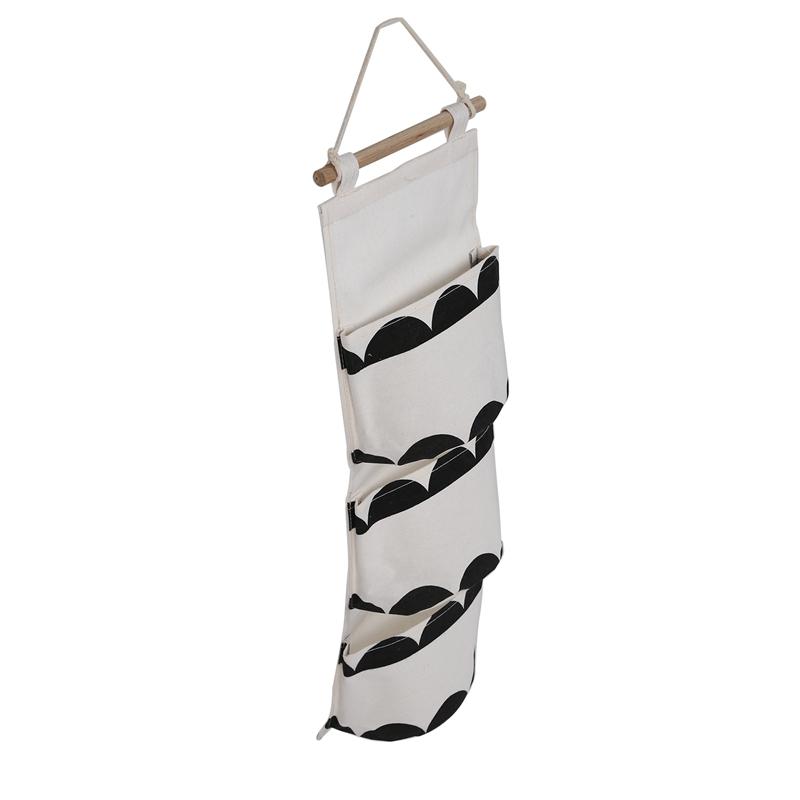 miniatura 4 - Sacchetto di Immagazzinaggio Appeso Modello Bianco Nero Lino di Cotone Dell S7D1