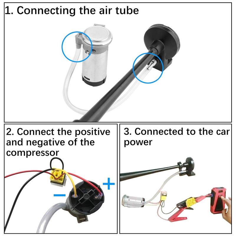 12v 150db Air Horn Kit 18 Inches Single Trumpet Train Air Horn With Compre X0s8 194982717961 Ebay