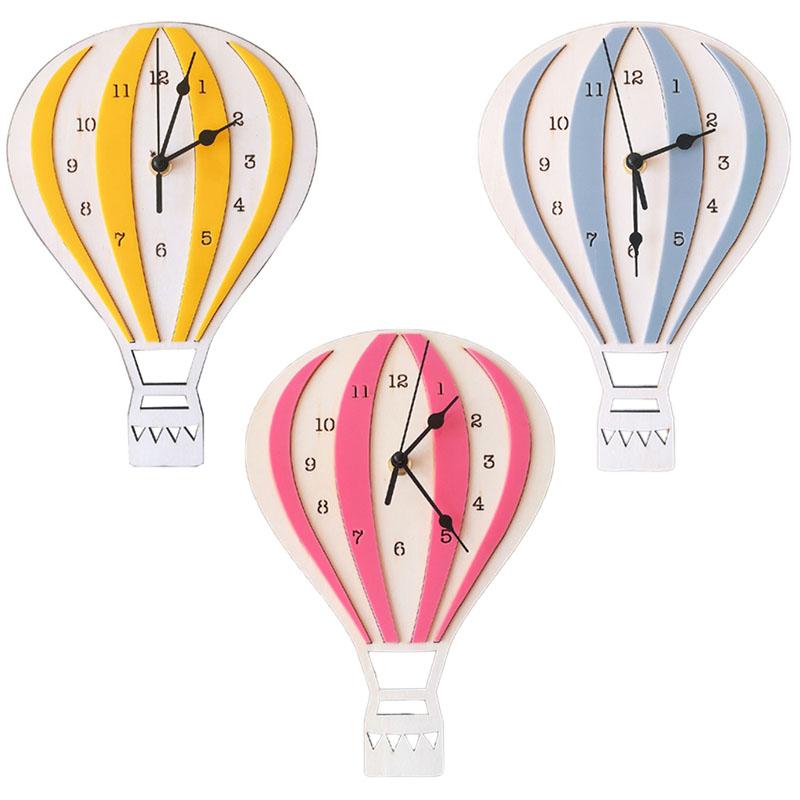 Style Nordique Enfants Dessin Anime Montgolfiere Horloge Muet Horloge Chamb R1p2 Ebay
