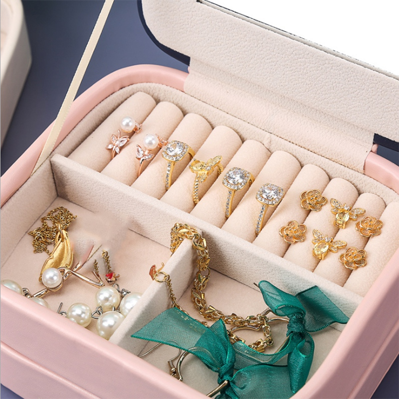 Exquisite-Jewelry-Box-Women-Leather-Packaging-Necklace-Rings-Earrings-Brace-T9O2 thumbnail 10