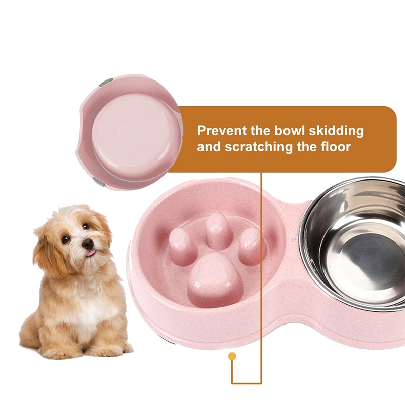 thumbnail 3 - Pet-Bowl-Slow-Feeder-Double-with-Stainless-Steel-Bowl-for-Dogs-amp-Cats-Anti-T2B4