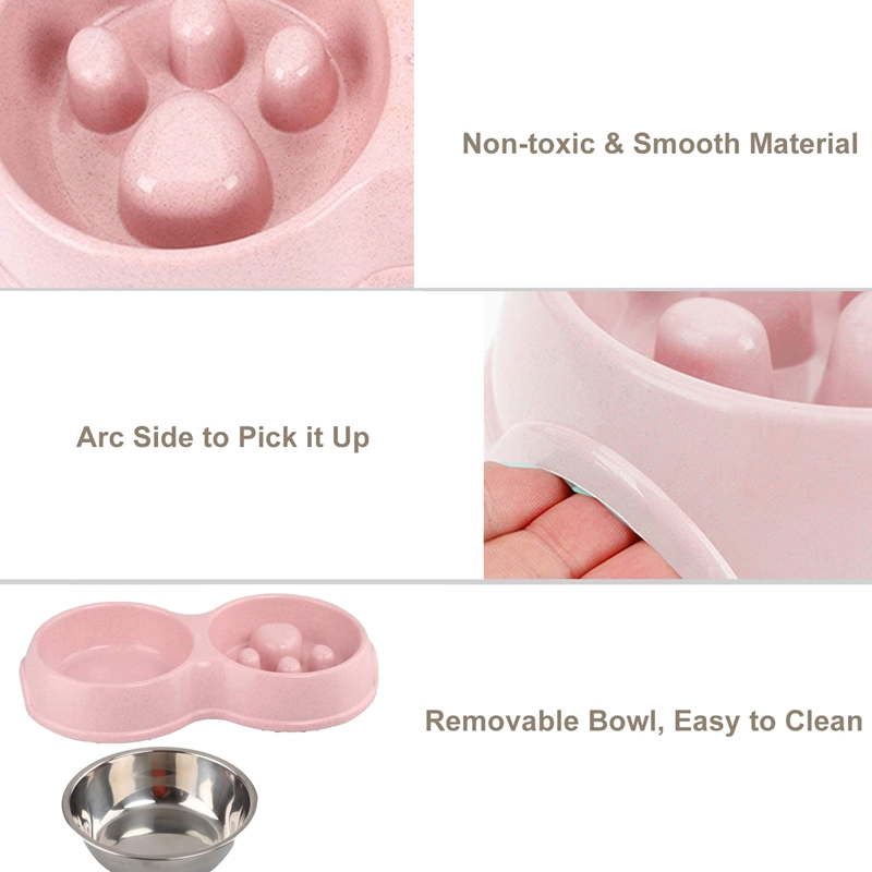 thumbnail 6 - Pet-Bowl-Slow-Feeder-Double-with-Stainless-Steel-Bowl-for-Dogs-amp-Cats-Anti-T2B4