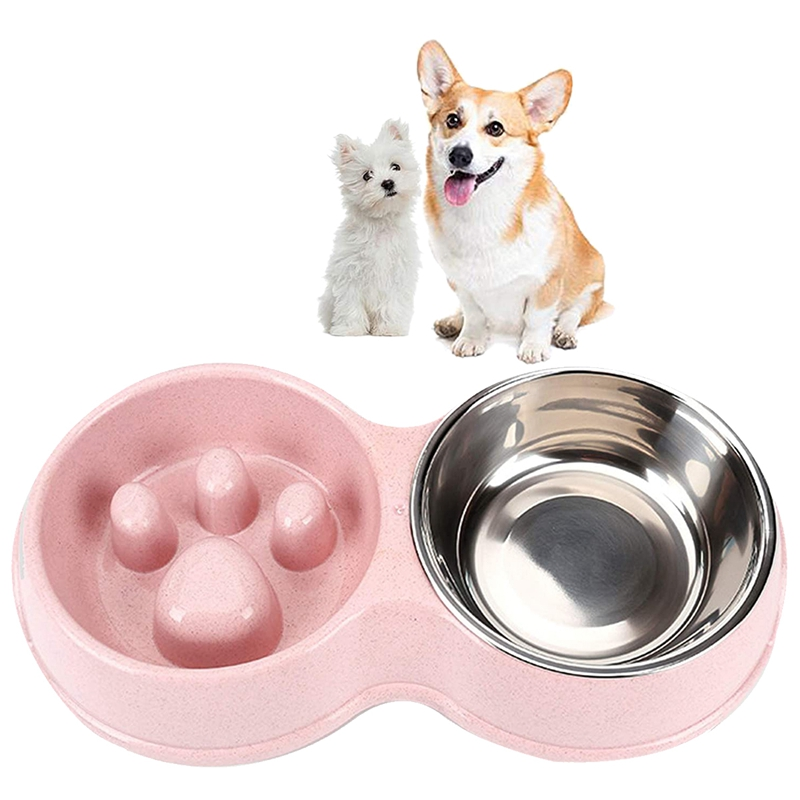 thumbnail 7 - Pet-Bowl-Slow-Feeder-Double-with-Stainless-Steel-Bowl-for-Dogs-amp-Cats-Anti-T2B4