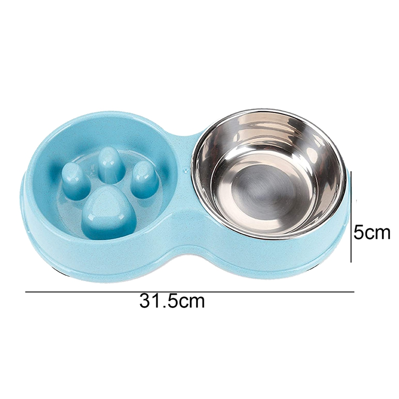 thumbnail 9 - Pet-Bowl-Slow-Feeder-Double-with-Stainless-Steel-Bowl-for-Dogs-amp-Cats-Anti-T2B4