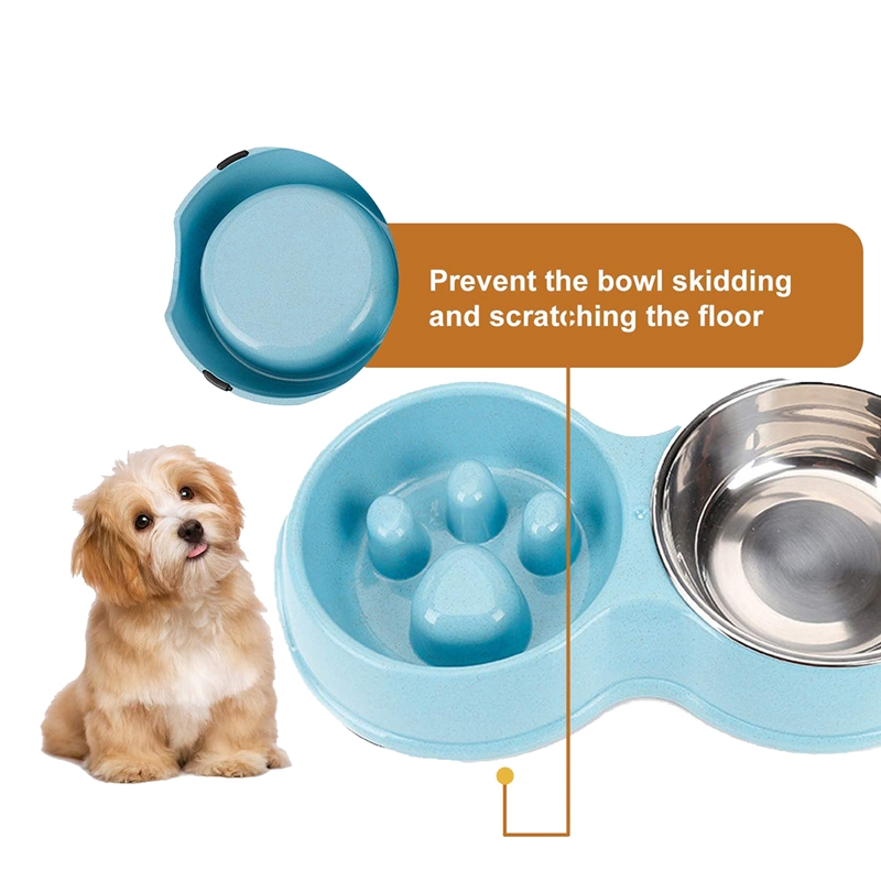 thumbnail 10 - Pet-Bowl-Slow-Feeder-Double-with-Stainless-Steel-Bowl-for-Dogs-amp-Cats-Anti-T2B4