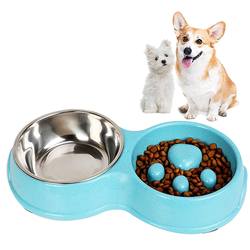 thumbnail 13 - Pet-Bowl-Slow-Feeder-Double-with-Stainless-Steel-Bowl-for-Dogs-amp-Cats-Anti-T2B4