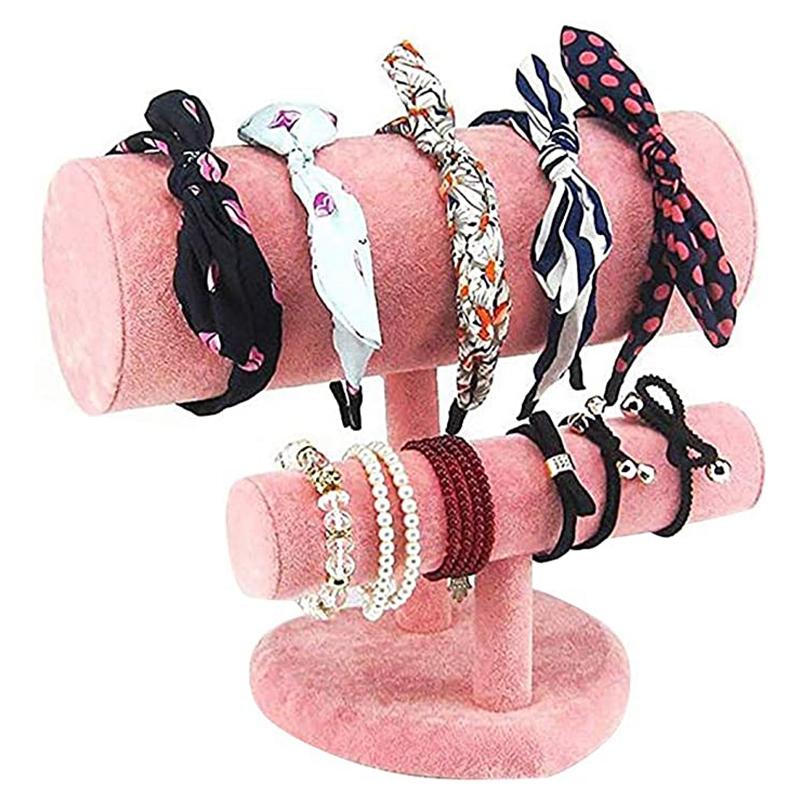 Indexbild 10 - 1X-Schmuck-Display-Rack-HerzfoeRmiges-Stirnband-Armband-Halskette-ZweistufigQ3Y3