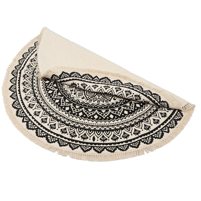 Morocco-Round-Carpet-Bedroom-Boho-Style-Tassel-Cotton-Rug-Hand-Woven-Nation-W5V4 thumbnail 3