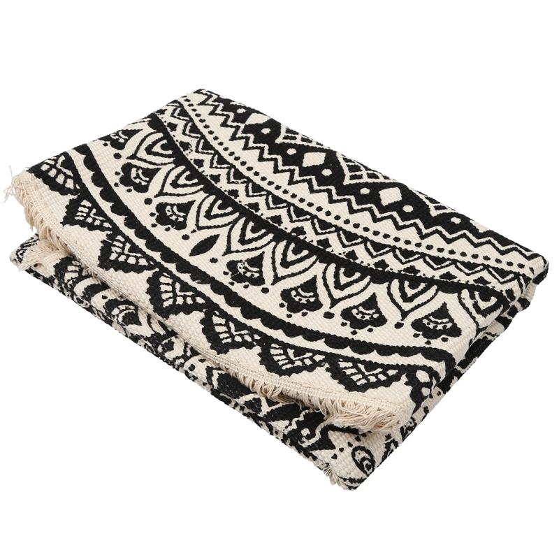 Morocco-Round-Carpet-Bedroom-Boho-Style-Tassel-Cotton-Rug-Hand-Woven-Nation-W5V4 thumbnail 4