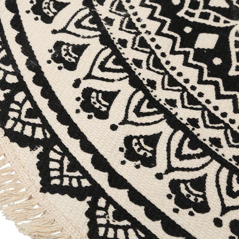 Morocco-Round-Carpet-Bedroom-Boho-Style-Tassel-Cotton-Rug-Hand-Woven-Nation-W5V4 thumbnail 7