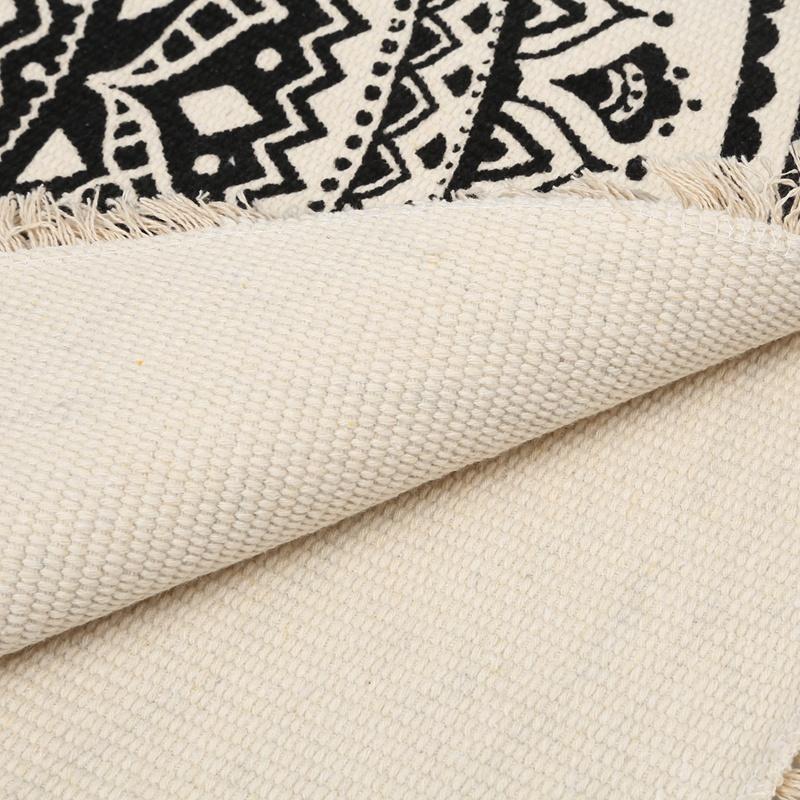 Morocco-Round-Carpet-Bedroom-Boho-Style-Tassel-Cotton-Rug-Hand-Woven-Nation-W5V4 thumbnail 9