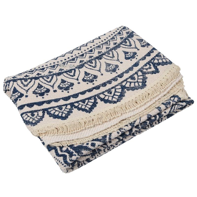 Morocco-Round-Carpet-Bedroom-Boho-Style-Tassel-Cotton-Rug-Hand-Woven-Nation-W5V4 thumbnail 12