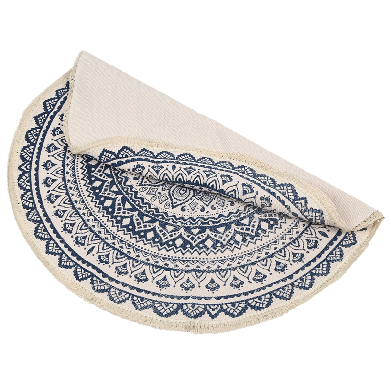 Morocco-Round-Carpet-Bedroom-Boho-Style-Tassel-Cotton-Rug-Hand-Woven-Nation-W5V4 thumbnail 14