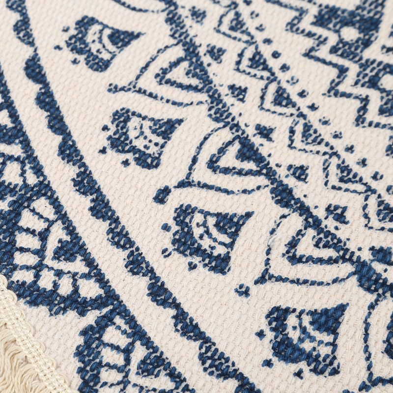 Morocco-Round-Carpet-Bedroom-Boho-Style-Tassel-Cotton-Rug-Hand-Woven-Nation-W5V4 thumbnail 16