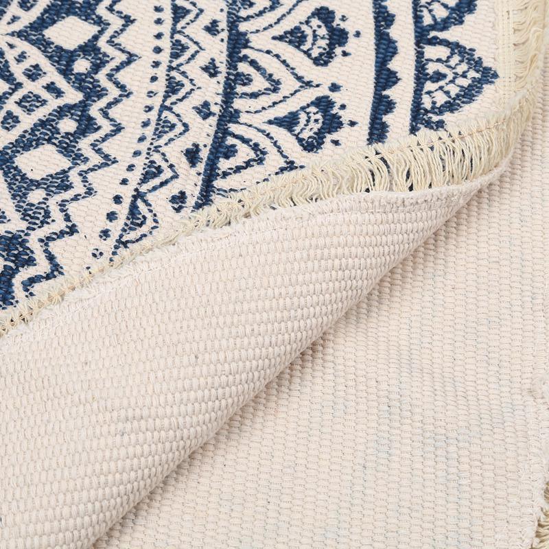 Morocco-Round-Carpet-Bedroom-Boho-Style-Tassel-Cotton-Rug-Hand-Woven-Nation-W5V4 thumbnail 18