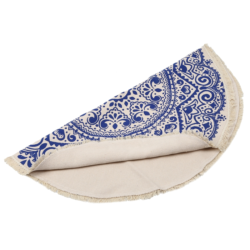 Morocco-Round-Carpet-Bedroom-Boho-Style-Tassel-Cotton-Rug-Hand-Woven-Nation-W5V4 thumbnail 21