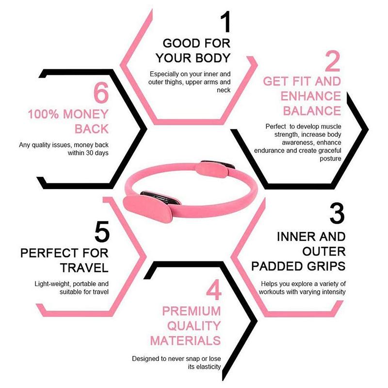 Pilates-Ring-Fitness-Magic-Pilates-Circle-Traje-de-Gimnasio-en-Casa-N5I5 miniatura 17