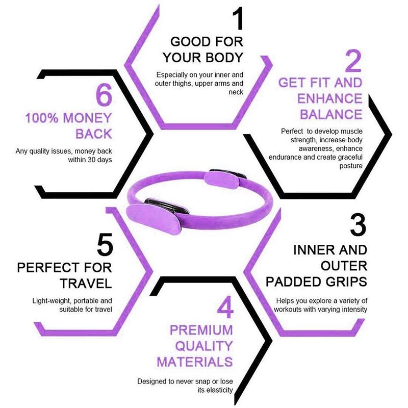 Pilates-Ring-Fitness-Magic-Pilates-Circle-Traje-de-Gimnasio-en-Casa-N5I5 miniatura 23